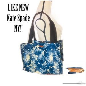 ‼️🔥LIKE NEW KATE SPADE NY XL Blue Floral Tote🔥‼️